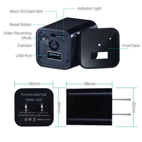 usb wall charger spy camera - specs