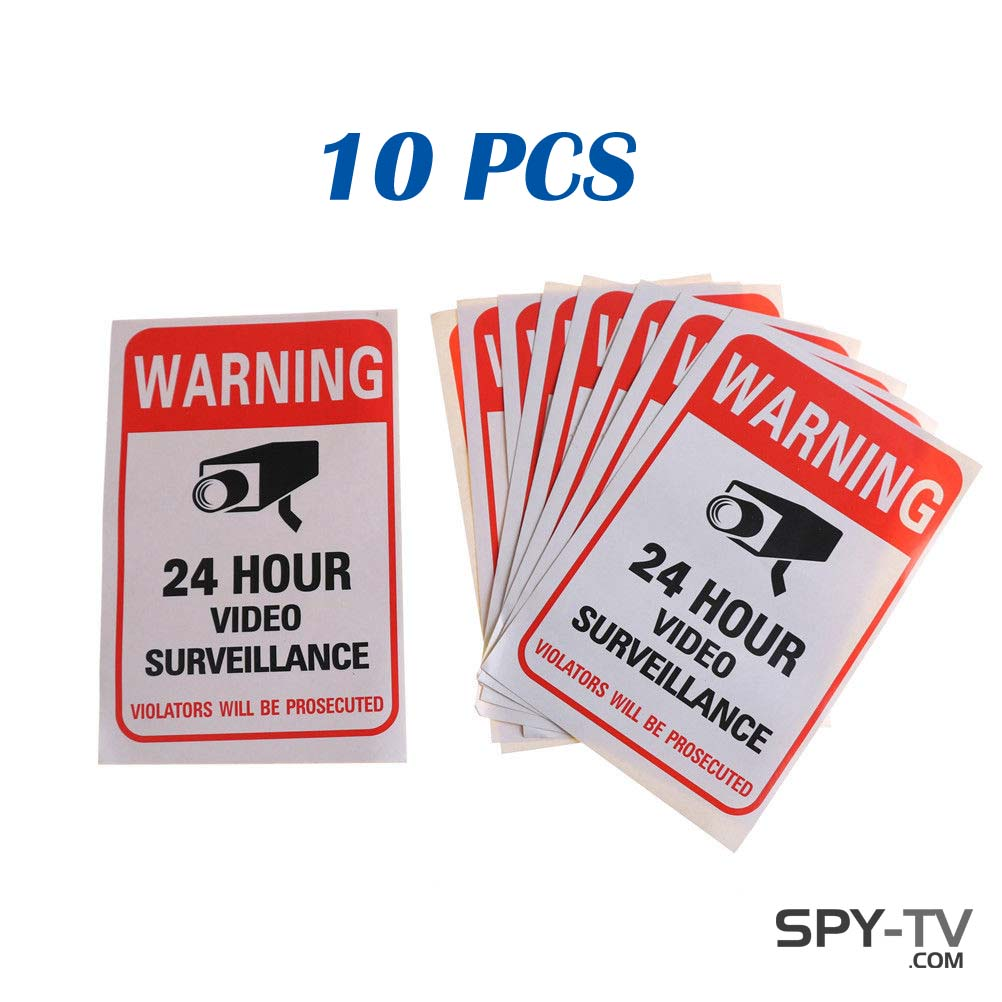 Warning 24 Hour Video Surveillance Security Sticker Red Decal